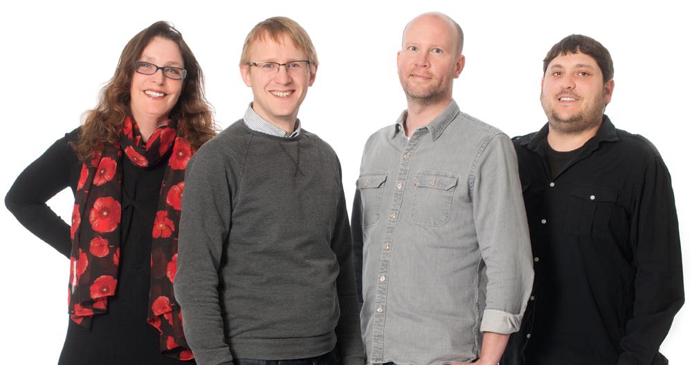Karin Bryshke tillsammans med kärntruppen på CR Development.