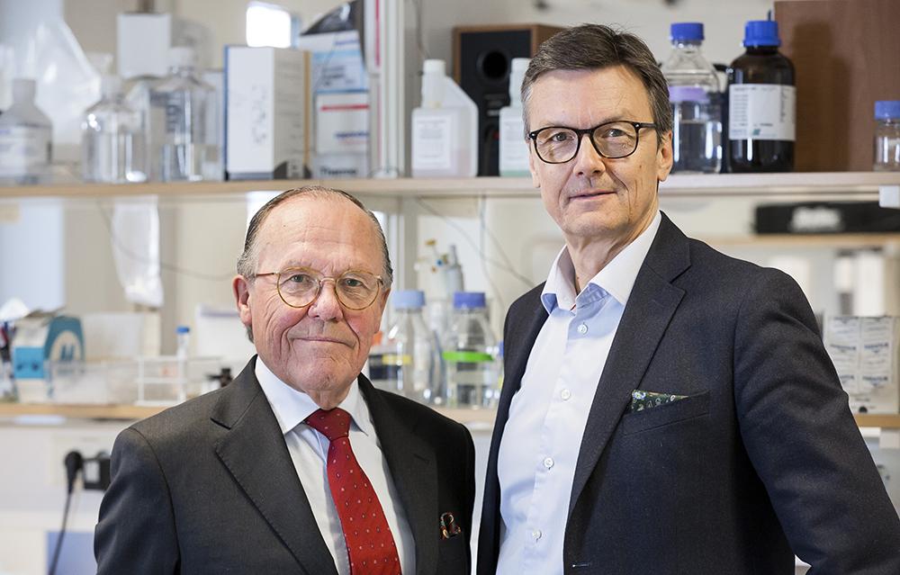 Håkan Mellstedt, professor i onkologisk bioterapi och Thomas Olin, vd för Kancera. Foto: Thomas Henrikson