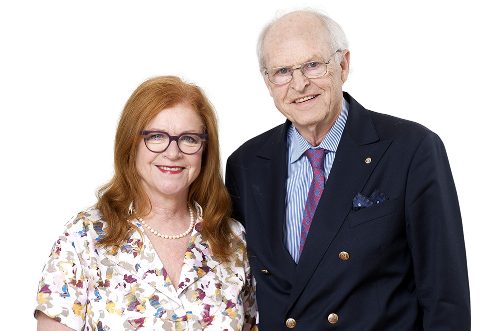 Cecilia Schelin Seidegård, ordförande Stiftelsen Konung Gustaf V:s Jubileumsfond och Ulf Lagerström, ordförande Cancerföreningen i Stockholm.