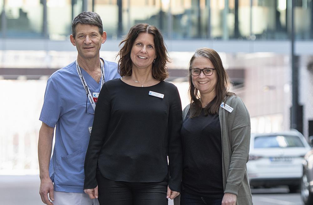 Johanna Wernersson, chef för Cancerstudieenheten, tillsammans med Susanne Wallberg, enhetschef CTO-enheten och Jeffrey Yachnin enhetschef Fas I-enheten.